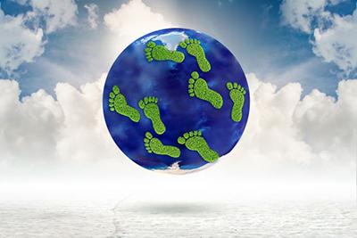 Image of footprints on a globe