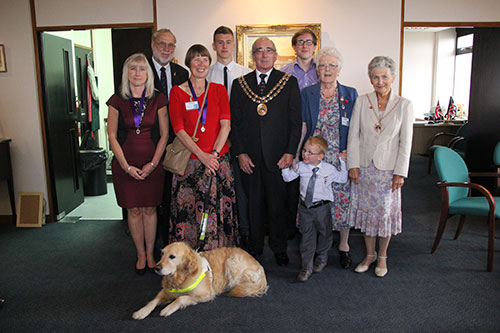 A group photo of the 2014 winners with the Mayor and Mayoress of Fareham