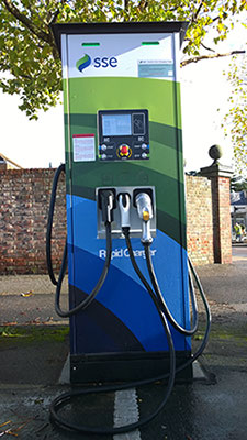 A picture of an electric vehicle charge point.