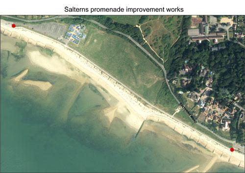 Map of the salterns promenade improvements