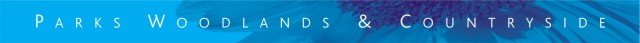 An image of the blue Countryside, Parks and Woodlands logo strip