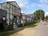 An image of the bus station with pavement and grass verge in front.