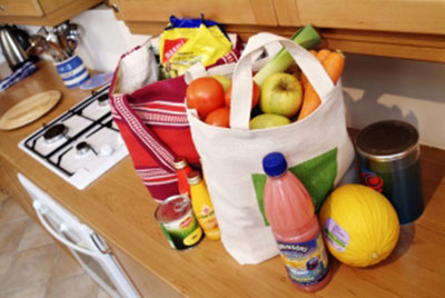 Bags of shopping in kitchen