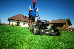 A picture of someone mowing a lawn