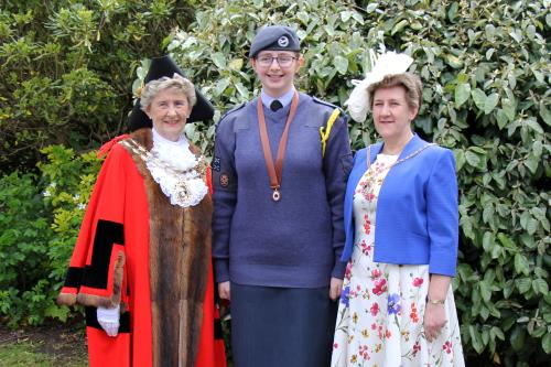 L to R: Madam Mayor Cllr Mrs Pamela Bryant, Mayor's Cadet Emily McKnight, and Mayoress Cllr Mrs Louise Clubley