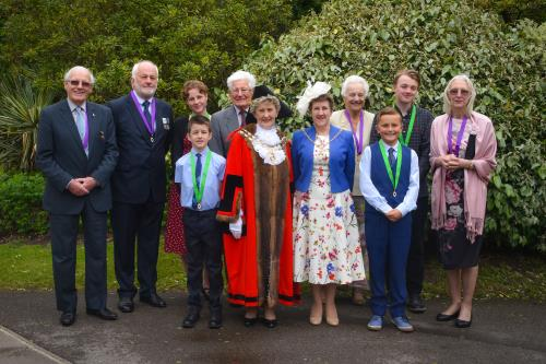 Eric, David, Evie and Seth, James, Madam Mayor Cllr Bryant, Mayoress Cllr Clubley, Jane, Lewis, Fin and Laura