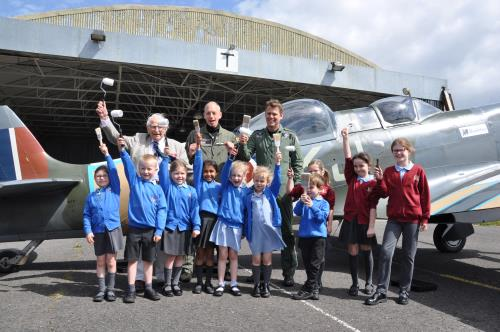 Crofton Anne Dale School children get ready to paint a Spitfire