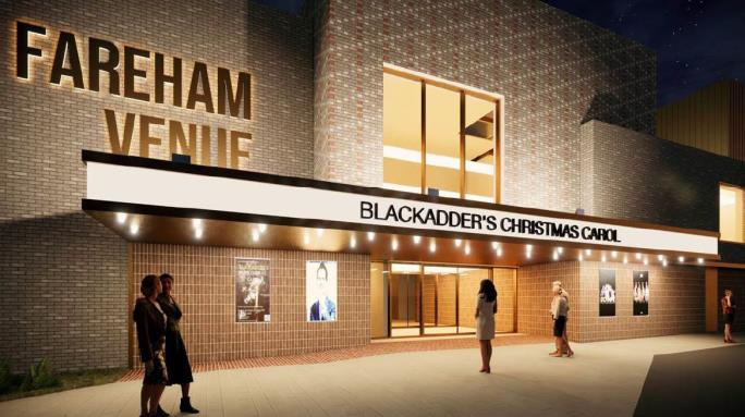 Artist impression of new entrance at night
